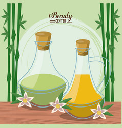 Color poster of beauty center with bamboo plant vector