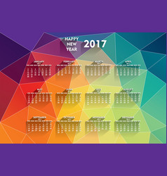 colorful new year 2017 calendar vector image