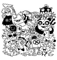 Creativity activities funny doodle cartoon set vector