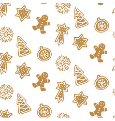 cute hand drawn seamless pattern with cookie vector image