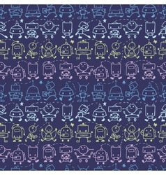 Doodle robots stripes seamless pattern background vector image