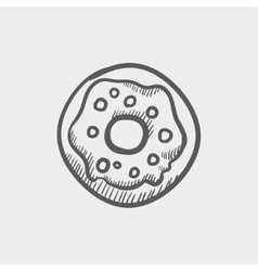 Doughnut sketch icon vector image