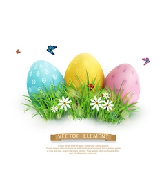 Easter eggs in green grass vector