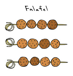 Falafel on a skewer grill bbq falafel middle vector