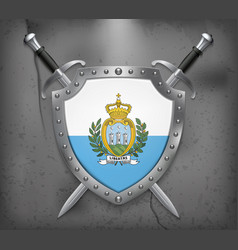flag of san marino the shield with national flag vector image