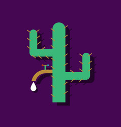 Flat icon design collection cactus with crane in vector