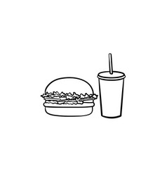 food and beverage takeaway hand drawn sketch icon vector image