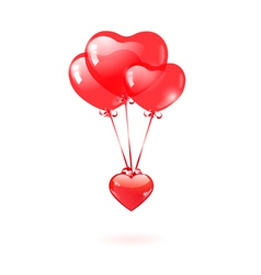 Glossy heart with a red heart-shaped balloon vector image