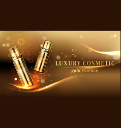 Gold cosmetic bottles ad banner cosmetics tubes vector
