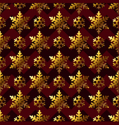 gold snowflakes on maroon gift box papper seamless vector image