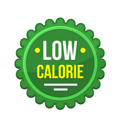 Green low-calorie product label on white vector