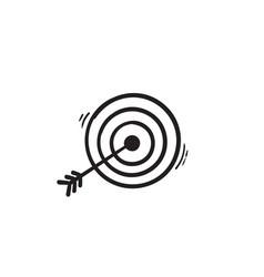 hand drawn doodle arrow and bullseye icon vector image