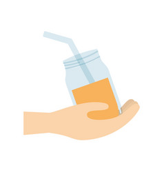 hand holding glass jar juice vector image