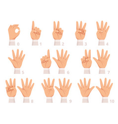 hands gesture numbers human palm and fingers show vector image