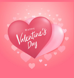 happy valentines day with couple heart balloon vector image