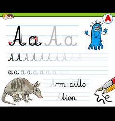 how to write letter a worksheet for kids vector image