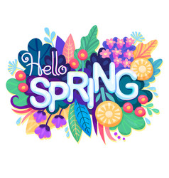 Inscription hello spring on background with vector