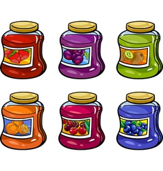 jams in jars set cartoon vector image