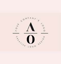 Letters ao a o logo set as a stamp or personal vector
