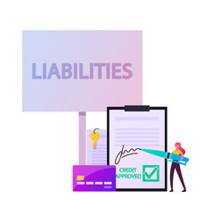 Liabilities concept tiny female character signing vector