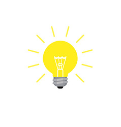 light bulb shining icon in flat style vector image