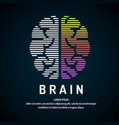 logo brain color silhouette vector image