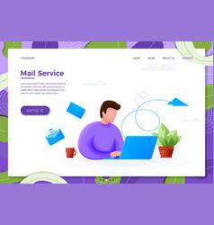 Mail service cartoon man vector
