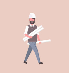 Man architect in helmet holding rolled up vector