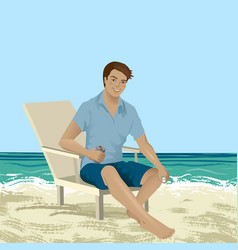 Man sitting on a beach chair vector
