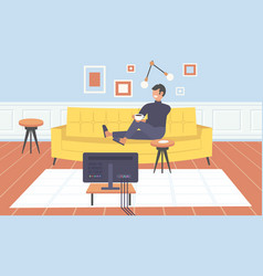 man sitting on couch watching tv guy drinking vector image