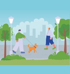 man walking with dog and boy listening music vector image
