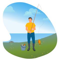 Man with rod and fish fishing hobon lake vector