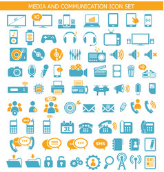 media and communication icon set vector image