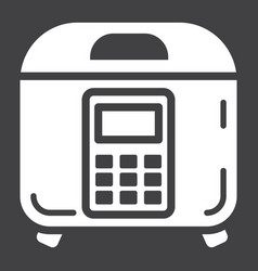 Multicooker solid icon kitchen and appliance vector