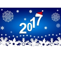 New Year 2017 on a blue background with snowflakes vector