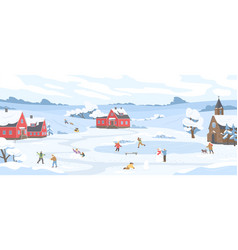 Panorama winter landscape with leisure people vector