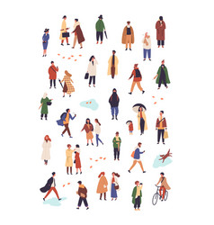 People in autumn apparel flat characters vector