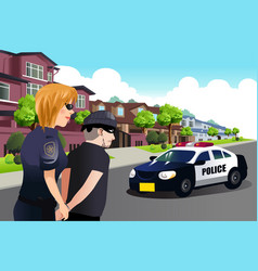 Policewoman arresting a criminal vector