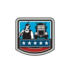 Pressure Washer Worker Truck Crest USA Flag Retro vector image