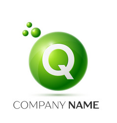 Q letter splash green dots and bubbles number vector