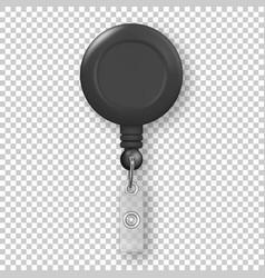 realistic 3d black round reel holder clip vector image