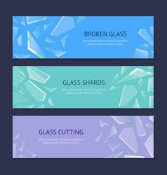 Realistic shards of broken glass banner horizontal vector