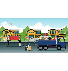 Relocation of the house vector image