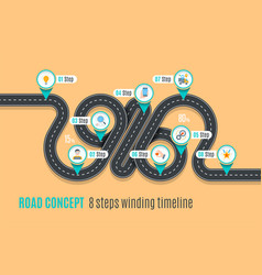 Road concept timeline infographic chart flat style vector