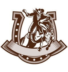 Rodeo cowboy riding bronco horse horseshoe vector image