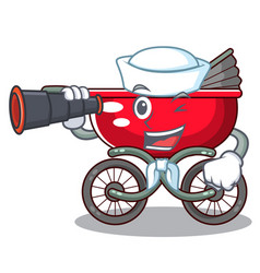 Sailor with binocular baby sitting in a baby vector
