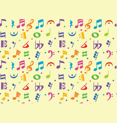 seamless pattern musical note doodle symbol vector image