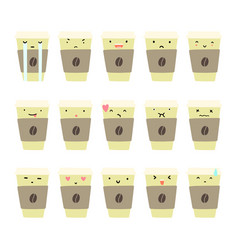 set coffee cup emotions vector image