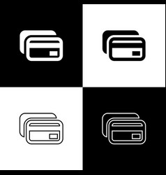 set credit card icons isolated on black and white vector image