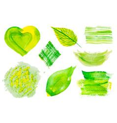 Set green watercolor design elements vector